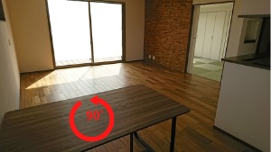 ダイニングテーブルを縦にすることも可能